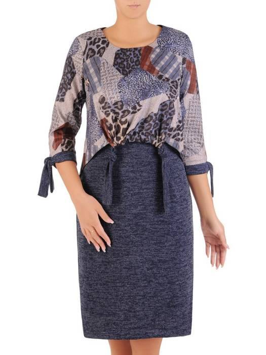 Komplet wyszczuplający, modna sukienka z narzutką na jesień 27184