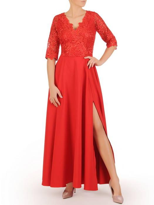 Kopertowa sukienka maxi, czerwona kreacja z koronkowym topem 30594