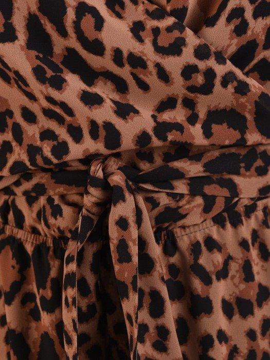 Kopertowa sukienka w cętki, rozkloszowana kreacja z szyfonu 23807