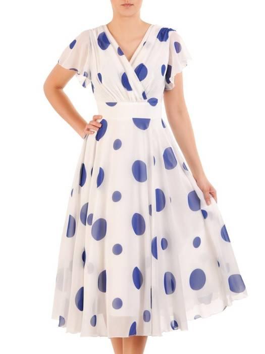 Kopertowa sukienka w grochy, kreacja ze zwiewnego szyfonu 29899