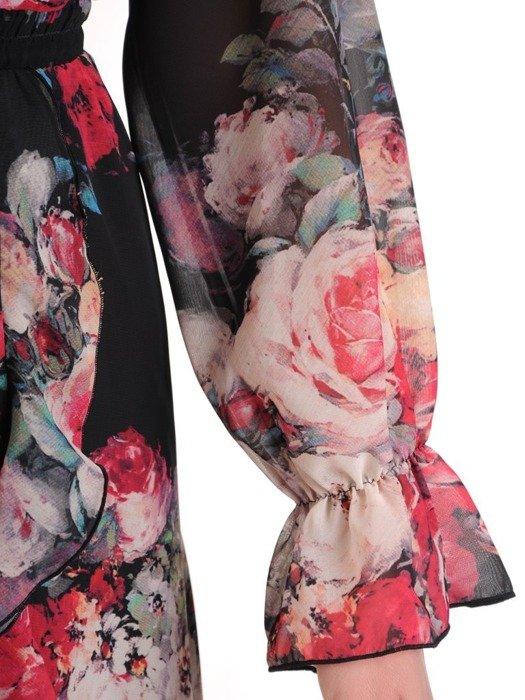 Kopertowa sukienka z falbankami na rękawach 25408