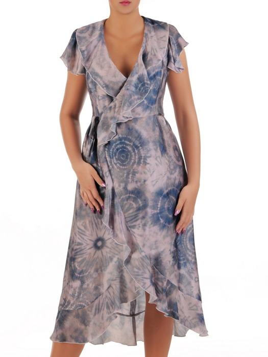 Kopertowa sukienka z modnymi falbanami, wizytowa kreacja na sezon letni 21714