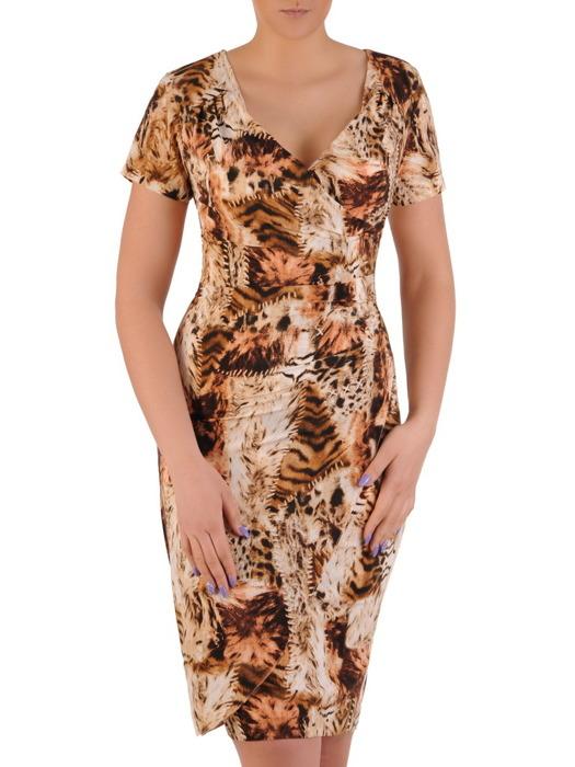 Kopertowa sukienka z modnymi marszczeniami, kreacja w zwierzęcy deseń 20543