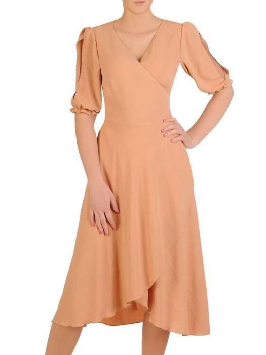 Kopertowa sukienka z ozdobnymi rozcięciami na rękawach 28979