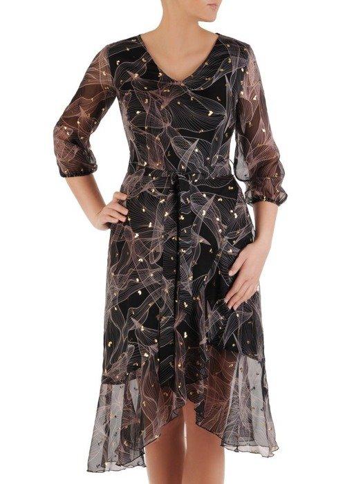 Kopertowa sukienka z szyfonu, wizytowa kreacja z falbaną 24536