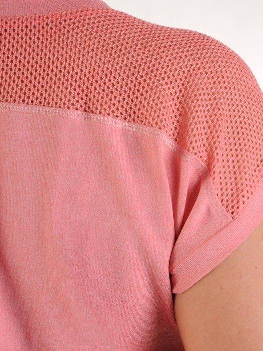 Koralowa bluzka z ażurowymi wstawkami 25571