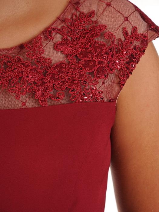 Kostium damski, bordowa sukienka z koronkowym żakietem 21808.