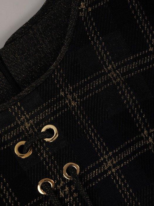 Kraciasta sukienka z ozdobnym sznurowaniem 18691