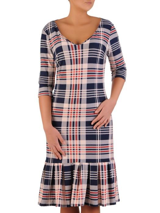 Kraciasta sukienka z szeroką falbaną, elegancka kreacja w modny wzór 22899