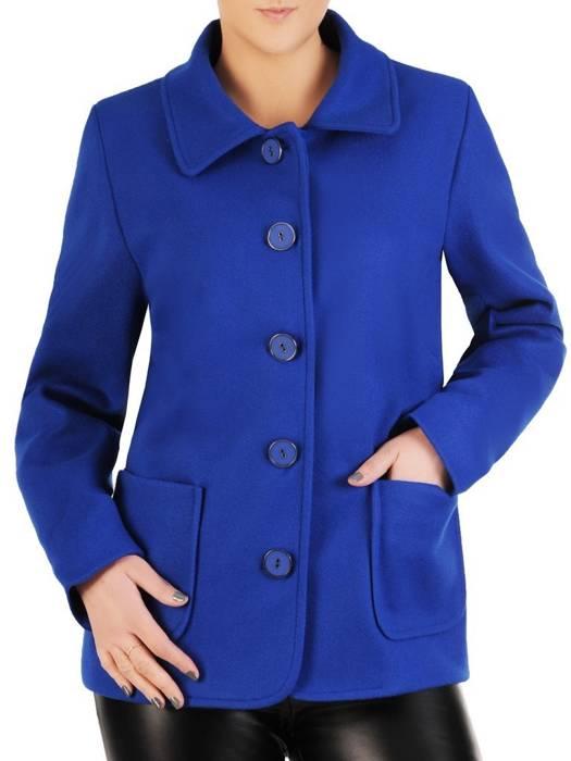 Krótki, chabrowy płaszcz damski 28739