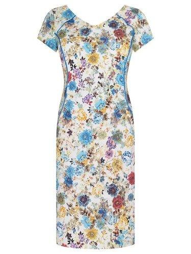Kwiecista sukienka z kolorowymi lamówkami Sasza