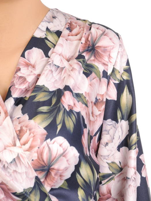 Kwiecista sukienka z kopertowym dekoltem i ozdobną falbaną 30737