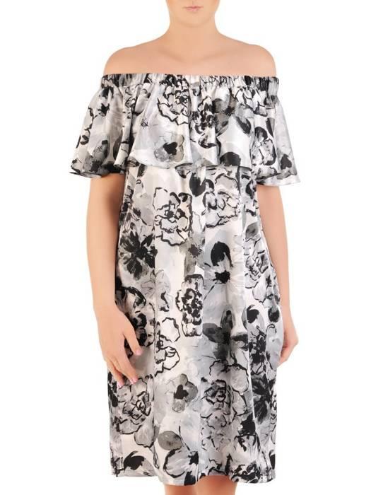 Letnia sukienka hiszpanka, kreacja w kontrastowe kwiaty 29964