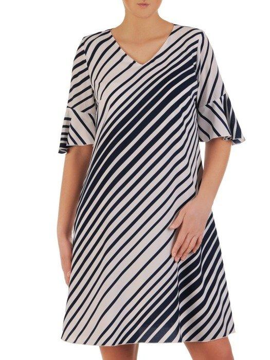 Luźna sukienka o trapezowym kroju, modna kreacja w biało granatowe paski 25075