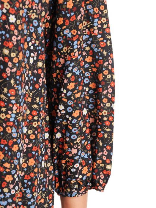 Luźna sukienka w drobny kwiatowy wzór z wiązaniem przy dekolcie 30557