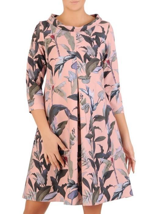 Luźna sukienka z kontrafałdą, oryginalna kreacja z golfem 27614