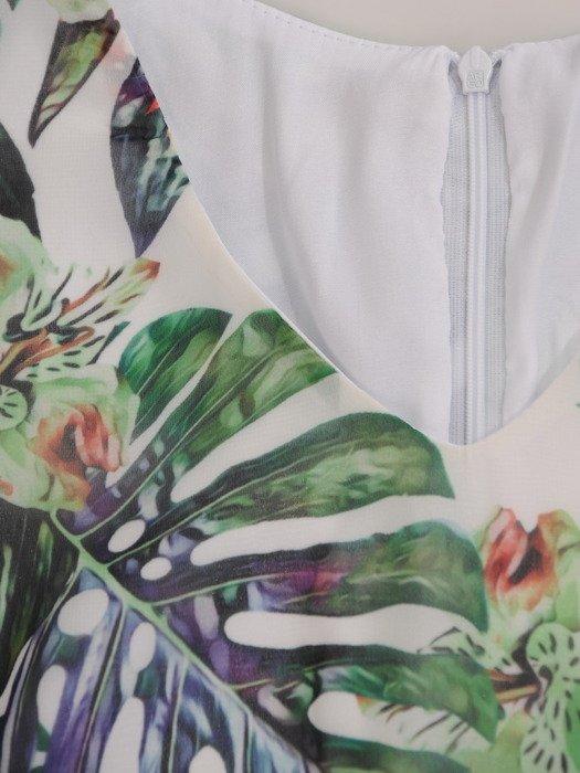 Luźna sukienka z szyfonu 16812, atrakcyjna kreacja w modny wzór
