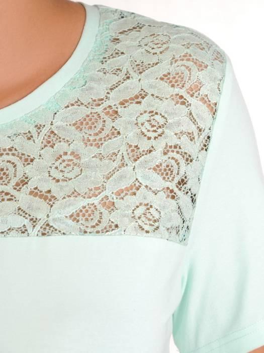 Miętowa bluzka z koronkowym karczkiem 30209