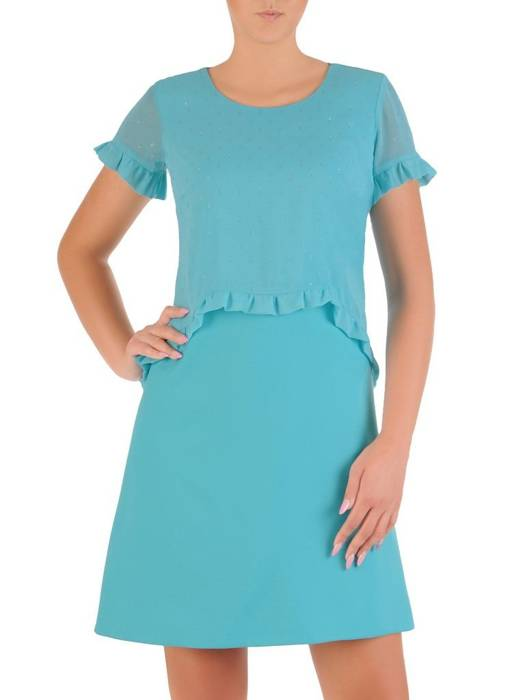 Miętowa kreacja, modna sukienka w fasonie maskującym brzuch 26636