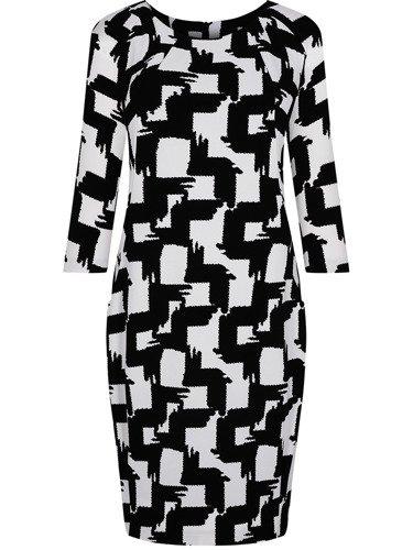 Modna sukienka w geometryczny wzór Ewelina, wyszczuplająca kreacja z kieszeniami.