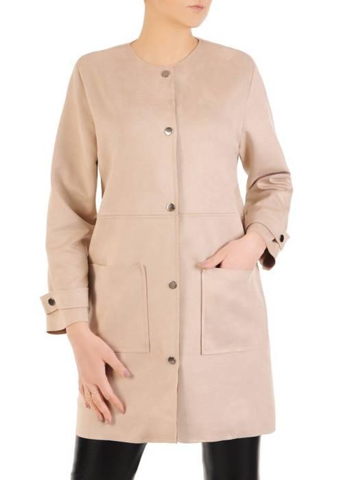 Modny płaszcz beżowy z kieszeniami 28846