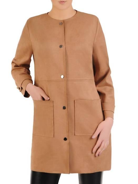 Modny płaszcz camelowy z kieszeniami 28847