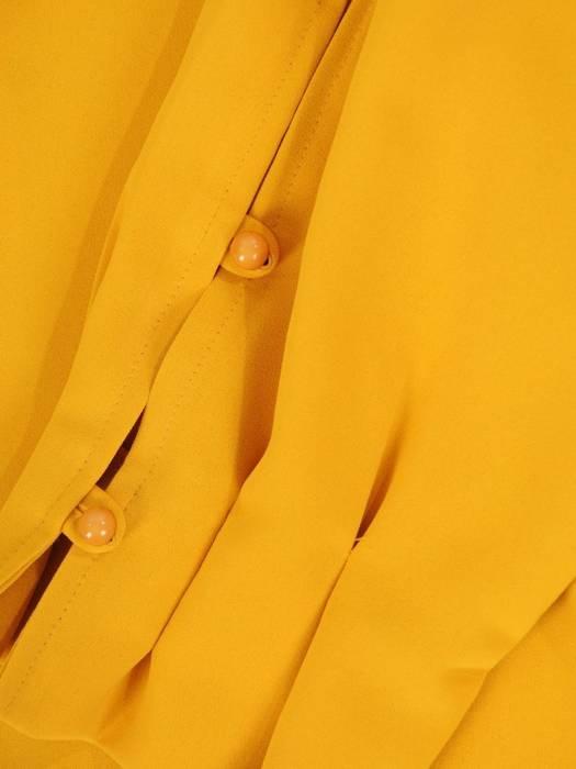 Musztardowa bluzka z ozdobnie zapinanymi rękawami 29908
