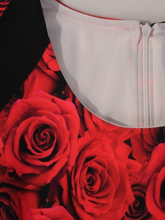 Nowoczesna sukienka z geometrycznym motywem, wiosenna kreacja midi 19428