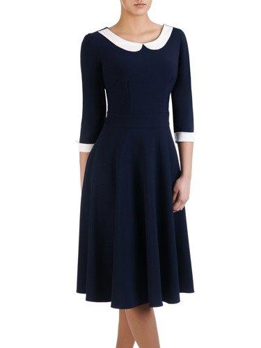 Nowoczesna sukienka z kontrastowym, pensjonarskim kołnierzem 14731.