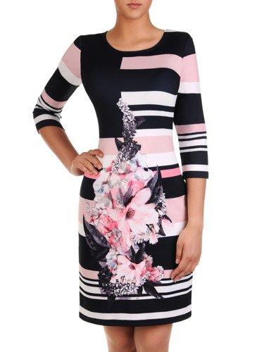 Nowoczesna sukienka z kwiatowym nadrukiem Karola