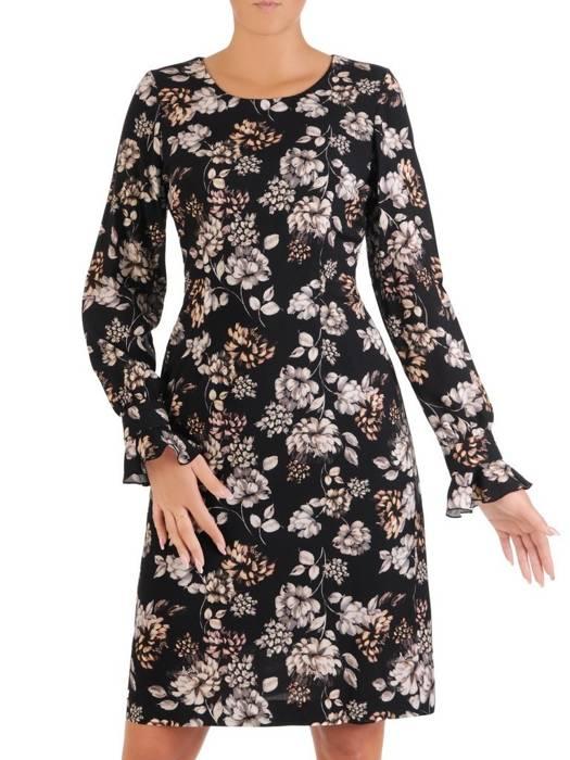 Ołówkowa sukienka z tkaniny, kreacja w kwiaty 27341