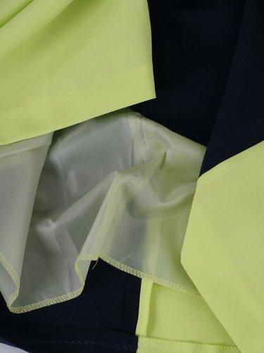Pistacjowo-granatowa sukienka Pamela II, nowoczesna kreacja w geometryczny wzór.