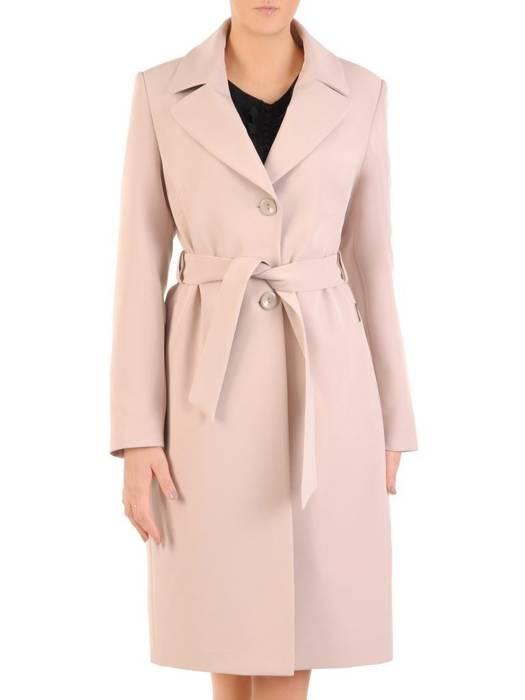Płaszcz damski z regulującym talię wiązanym paskiem 29077