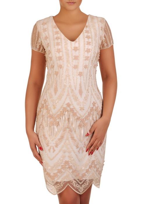 Połyskująca sukienka na wesele, jasna kreacja z modnej koronki 21196