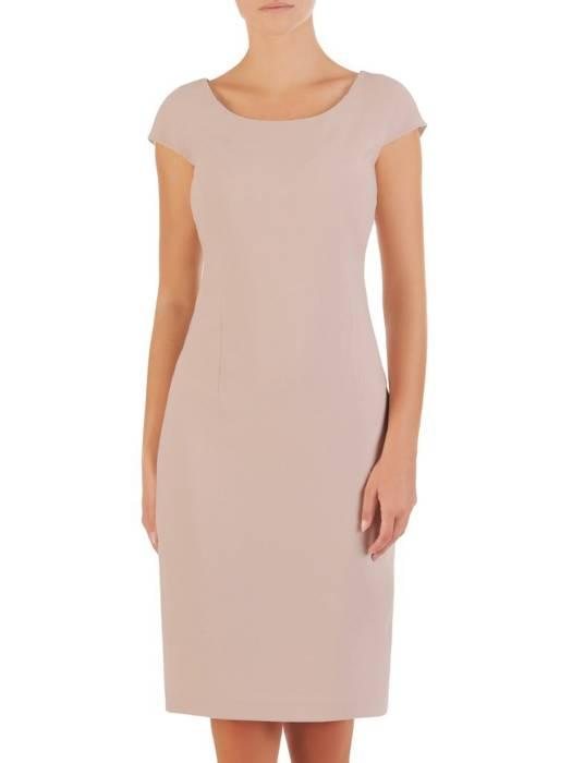 Połyskująca sukienka z krótkimi rękawami, nowoczesna kreacja w kolorze kremowym 26885