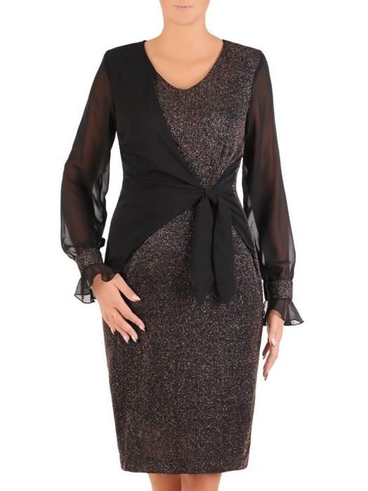 Połyskująca sukienka z ozdobnym, wyszczuplającym wiązaniem 27379