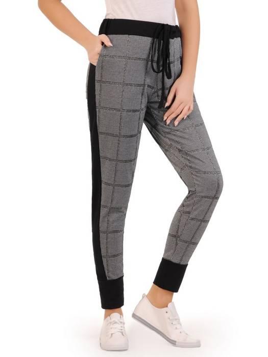Połyskujące dzianinowe spodnie w kratkę 27812