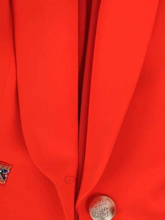 Pomarańczowy żakiet z ozdobami na kieszeniach 25773