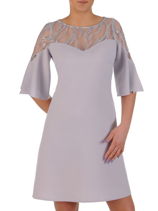 Popielata sukienka z koronkowym karczkiem, wizytowa kreacja w modnym fasonie 20177