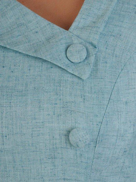 Prosta lniana sukienka, wiosenna kreacja z guzikami 25065