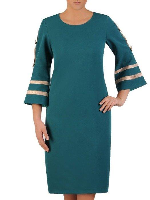 Prosta sukienka wizytowa, zielona kreacja z ozdobnymi rękawami 23833