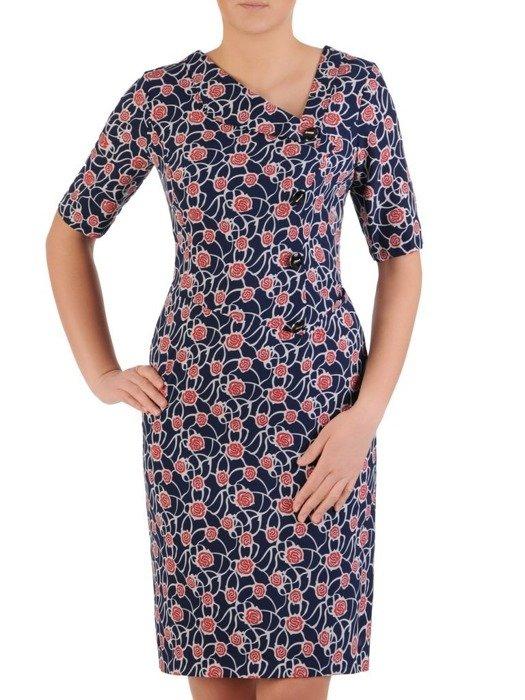 Prosta sukienka z ciekawym wzorem, wiosenna kreacja z guzikami 25328