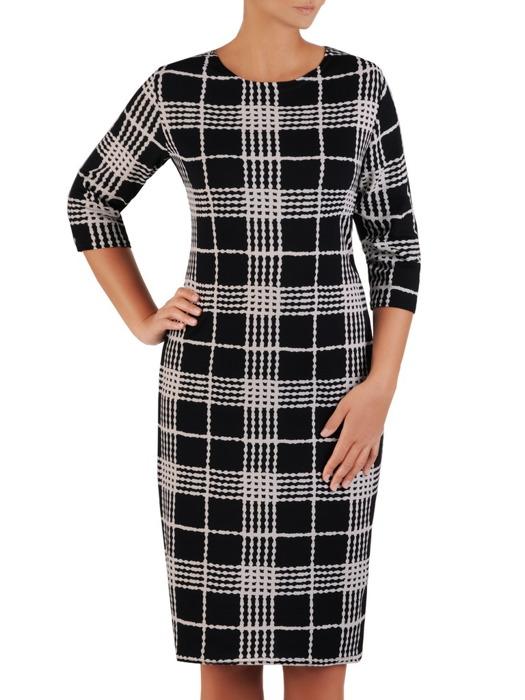 Prosta sukienka z dzianiny, jesienna kreacja w modną kratę 22059