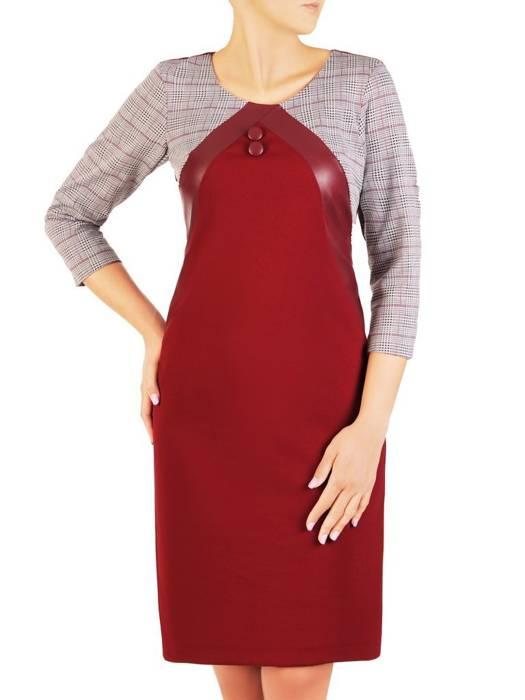 Prosta sukienka z dzianiny, kreacja z ozdobnymi wstawkami na rękawach 30463