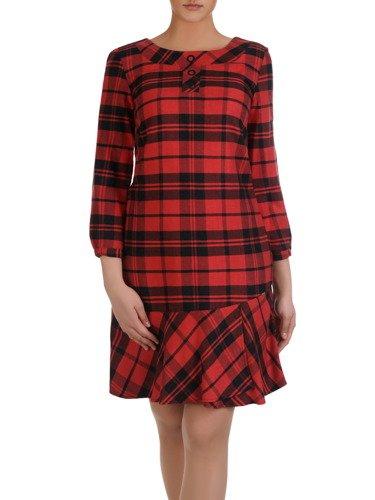 Prosta sukienka z falbaną Brunona, jesienna kreacja w kratę.