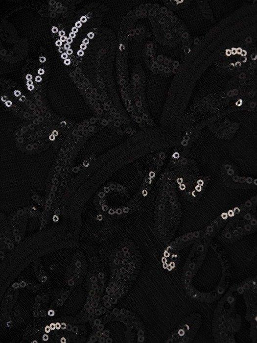 Prosta sukienka z kopertowym dekoltem, kreacja z koronkowym topem 22546