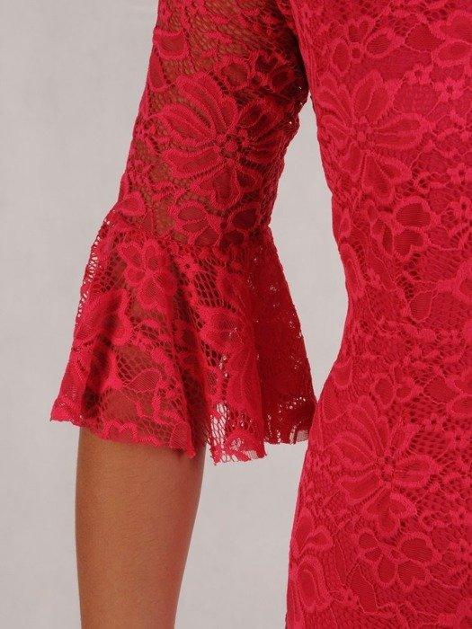 Prosta sukienka z koronki, kreacja z ozdobnymi rękawami 22585