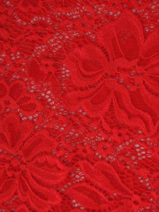 Prosta sukienka z koronkową narzutką 17163, kreacja maskująca brzuch i biodra.