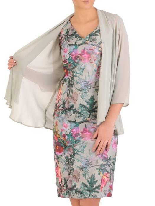 Prosta sukienka z szyfonową narzutką, elegancki komplet wizytowy 29037