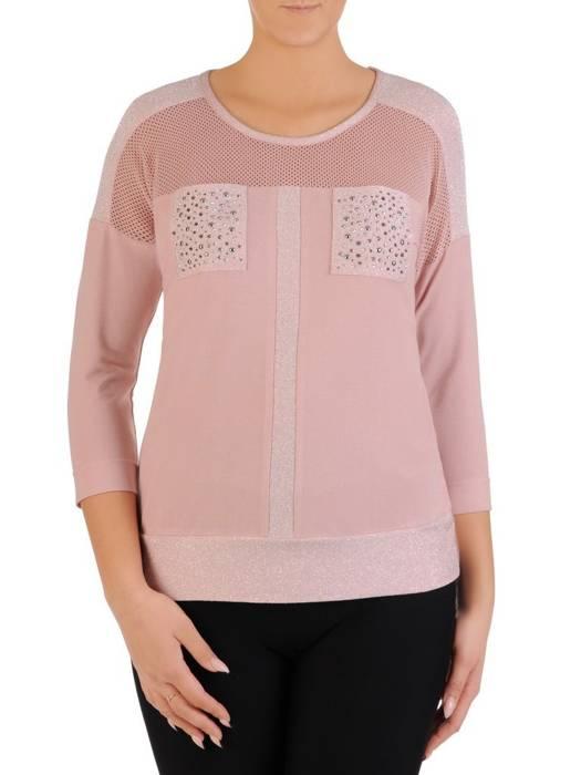 Pudrowa bluzka damska z ozdobnymi kieszonkami 27856